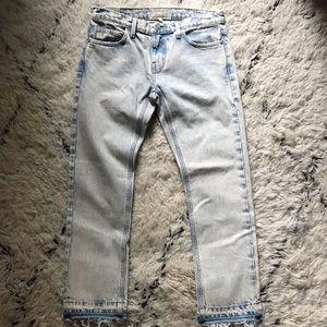 Current/Elliott 25 Cropped Straight Raw hem jeans